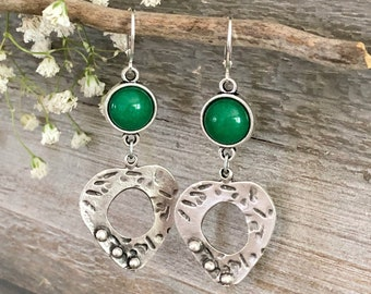 Peaceful Heart Jade earrings | green jade jewelry in silver