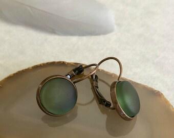 Cultured Sea Glass earrings in atique copper bezel sets