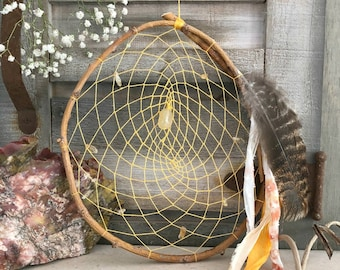 Yellow Dream Catcher | citrine stone nuggets | natural willow