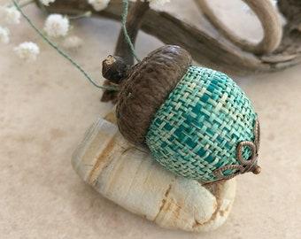 Green Acorn Ornament   natural hemp with real acorn cap