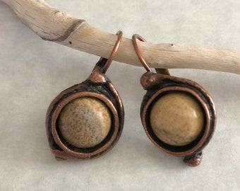 Picture Jasper Earrings | natural stone jewelry in copper lever back bezels