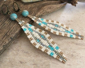 Diamond Shaped Peyote earrings | aqua terra jasper stones