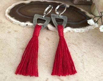 Red Tassel Earrings | hand spun organic linen fiber | color therapy