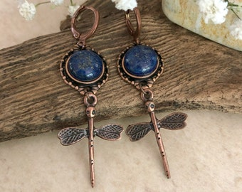 Copper Dragonfly Earrings   natural lapis lazuli stone jewelry