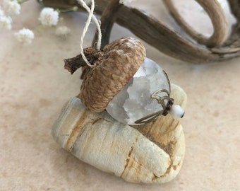 Frosted Glass Acorn ornament | white glass ball and real acorn cap