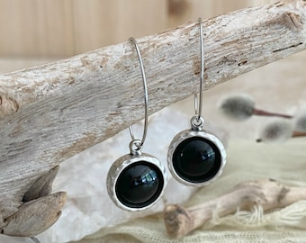Black Obsidian Hoop earrings | natural stone and silver bezel jewelry