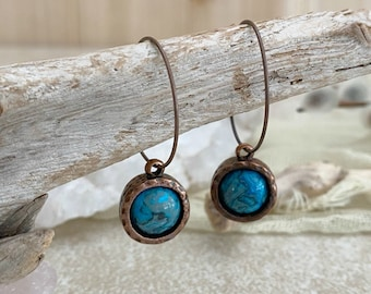 Blue Crazy Lace in copper earrings | natural earth stone jewelry