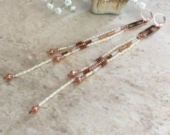 Desert Rose Gold beadwork earrings
