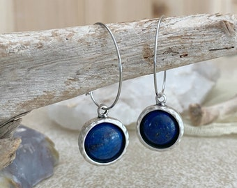 Blue Lapis lazuli Earrings | natural hoops in silver stone bezel set jewelry