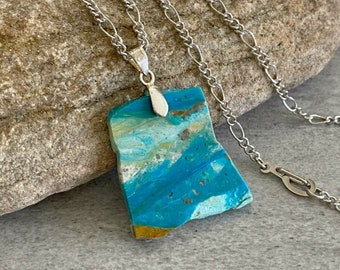 Raw Blue Opal necklace | opalized petrified wood stone jewelry