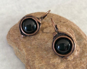 Black Obsidian Earrings | natural stone jewelry in copper lever back bezels