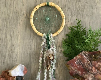 Green Dream Catcher | natural bamboo |  aventurine stones