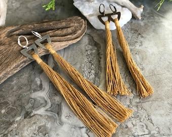 Gold Tassel Earrings   hand spun linen fiber   color therapy