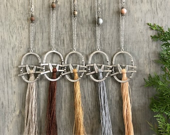Linen Tassel Earthy necklaces    long layering silver jewelry w/ natural stone beads