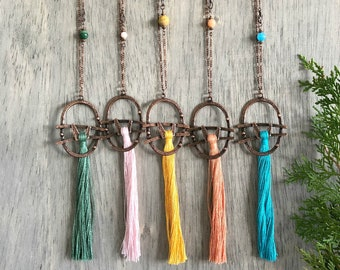 Spring Linen Tassel necklaces    long layering copper jewelry w/ natural stone beads in green , pink , yellow , coral , turquoise
