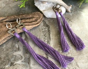 Purple Tassel Earrings   hand spun linen fiber   color therapy