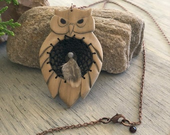 Owl Dream Catcher necklace | natural hand carved wood talisman