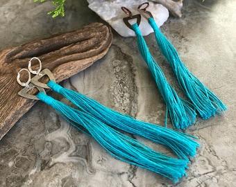 Turquoise Tassel Earrings   hand spun linen fiber   color therapy