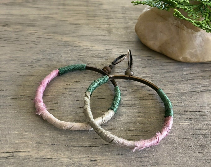 Featured listing image: Sari Silk Hoop earrings | sage green and pink simple jewelry