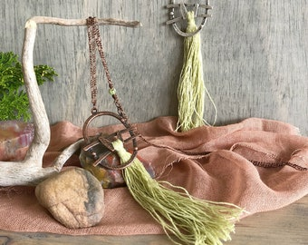 Pale Green Tassel necklaces | long layering linen jewelry in copper or silver