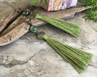 Green Tassel Earrings   vintage peridot glass charms