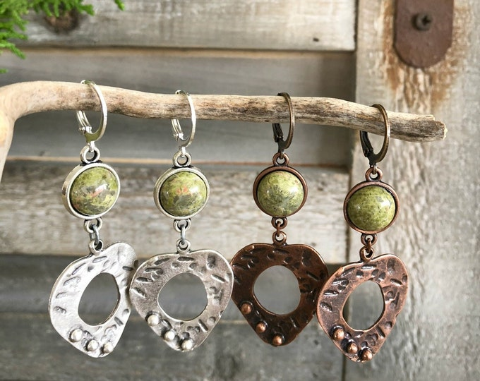 Featured listing image: Peaceful Heart Dangles | unakite earrings | copper or silver