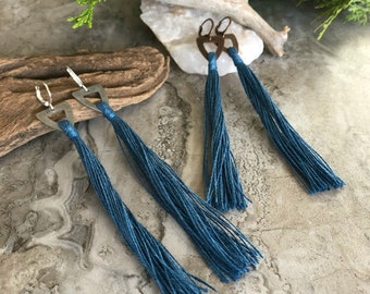 Stormy Blue Tassel earrings   organic linen   color therapy