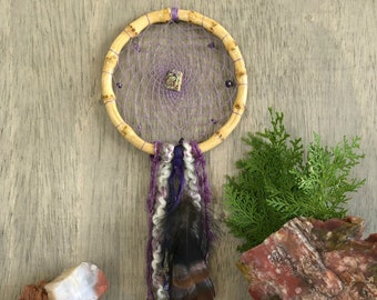 Violet Dream Catcher | natural abalone and amethyst stones