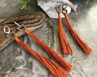 Rust Tassel Earrings   hand spun linen fiber   color therapy
