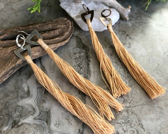 Golden Straw Tassel earrings   organic linen   color therapy