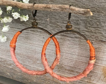 Sari Silk Hoop earrings | natural orange fabric and brass jewelry