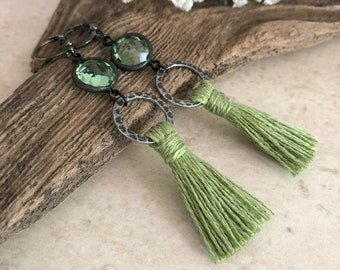 Cactus Green Tassel earrings | vintage peridot glass charms