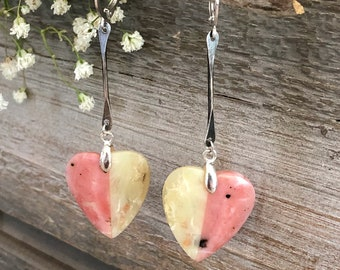 Opal Heart Earrings | yellow and pink natural stone jewelry