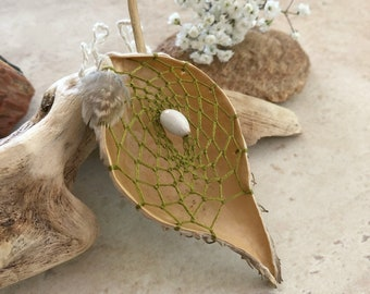 Olive Green Dream catcher milkweed seed pod