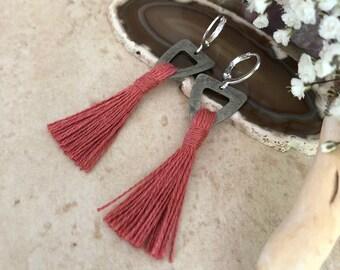 Desert Rose Tassel earrings | organic linen | color therapy