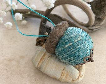 Teal blue Acorn Ornament   natural hemp with real acorn cap