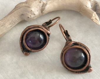 Amethyst Earrings | purple stone jewelry in copper lever back bezels