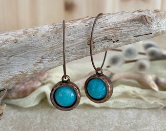 Smithsonite in Copper Earrings | natural earth stone jewelry