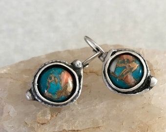 Spiny Oyster Turquoise copper earrings   stone jewelry in silver bezel sets
