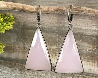 Triangle Rose Quartz earrings in 925 sterling silver  |  vermeil setting