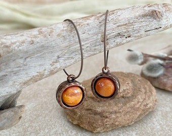 Spiny Oyster Copper earrings | natural earth stone jewelry
