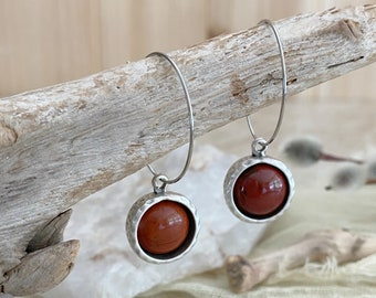 River Jasper Hoop earrings | red stone jewelry in antique silver bezel sets