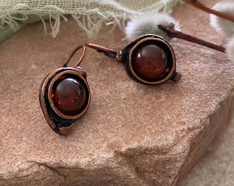 Baltic Amber Earrings | natural stone jewelry in copper lever back bezels