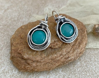 Silver and Apatite Earrings | natural earth stone jewelry