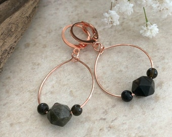 Rose Gold Obsidian earrings | minimal dainty hoop jewelry
