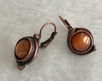 Sunstone Earrings | natural stone jewelry in antique copper bezel sets