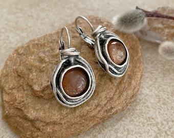 Sunstone Earrings | stone jewelry in silver bezel sets