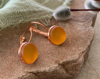 Cultured Golden Sea glass earrings in rose gold bezel sets