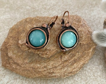 Chrysoprase Stone Earrings | natural jewelry in copper lever back bezels