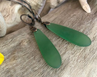 Green Teardrop Sea glass earrings | simple cultured glass jewelry